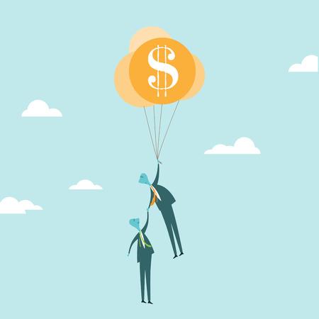 illustratie van een zakenman die ballonnen van de financiële veiligheid van het redden van andere zakenman van zijn ondergang.