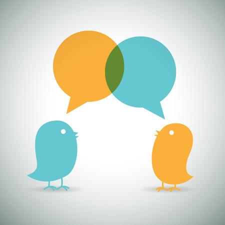 twitter: Vector cartoon illustration of two birds chatting.