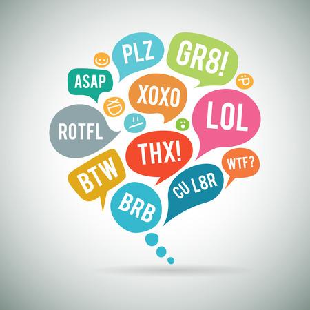 Vector illustration of internet acronym chat bubble. Illustration