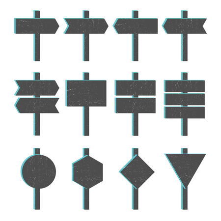 blocky: Vector illustration of blocky grunge arrow sign set.