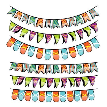 carnival border: Vector illustration of party decor banner design elements.