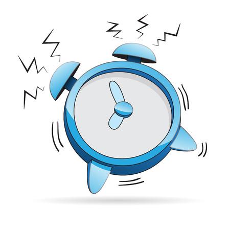 awaken: illustration of a cartoon alarm clock ringing.