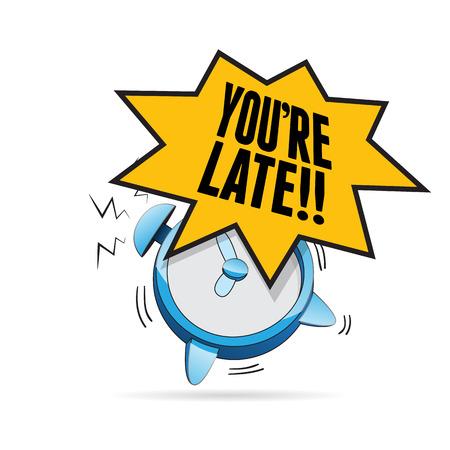 awaken: illustration of alarm clock blaring with youre late exclamation. Illustration