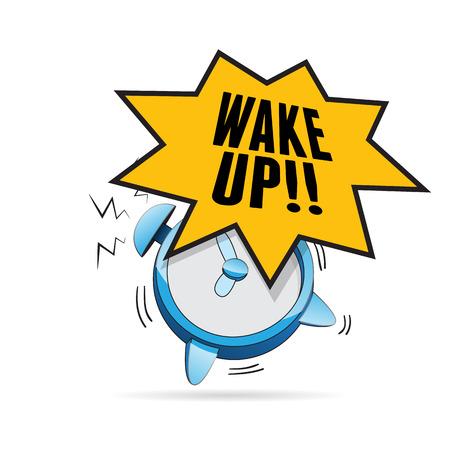 illustration of alarm clock ringing with wake up talk bubble.