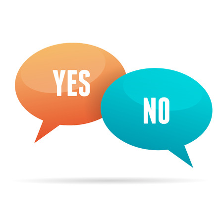 contradiction: illustration of colorful talk bubbles of yes and no contradicting answer. Illustration