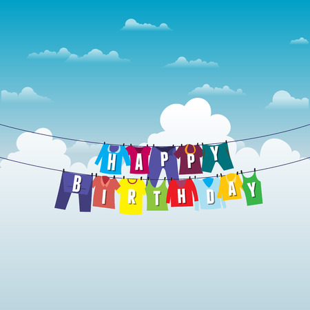 drying: Vector illustration of clotheslines with birthday greeting wish.