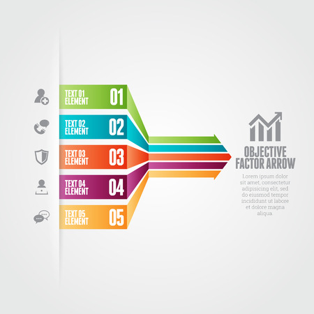 factor: Vector illustration of objective factor arrow infographic design elements.