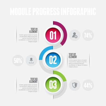 Vector illustration of module progress infographic design element.
