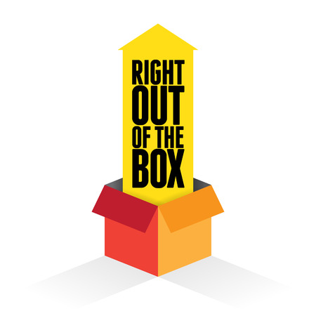 intact: Vector illustration of yellow arrow coming out from a box with text right out of the box. Illustration