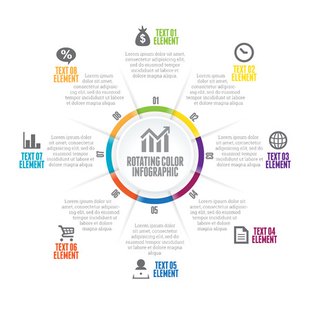 Vector illustration of rotating color infographic design element.