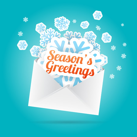 Vector illustration of seasons greetings and snowflake cutouts from an envelope. Vector
