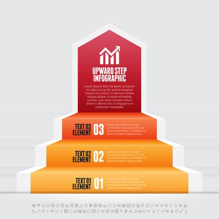 upward: Vector illustration of upward step infographic design element.