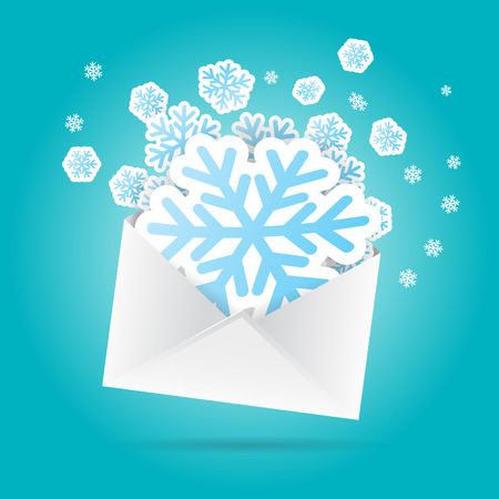 Vector illustration of snowflake cutouts out from an envelope. Vector
