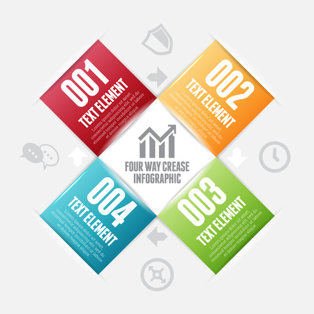 factors: Vector illustration of four way crease infographic design elements.