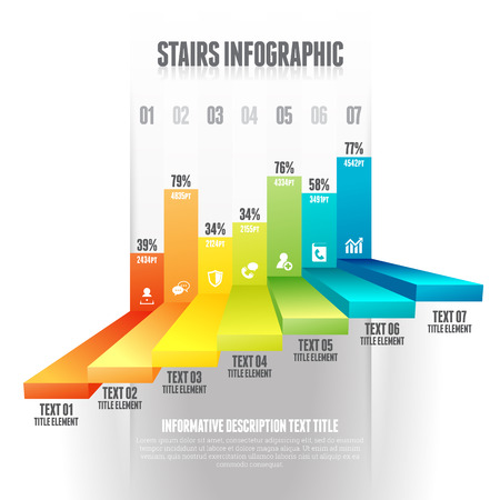 Vector illustration of colorful stairs infographic design elements. Vector
