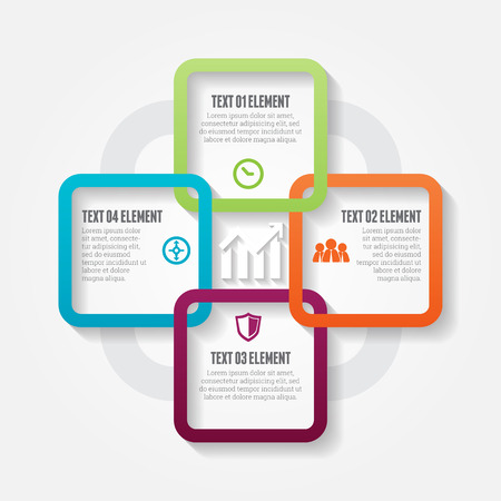 Vector illustration of four square options infographic design elements.
