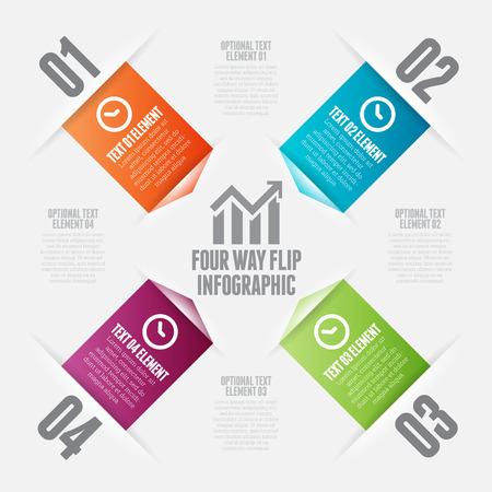 cuatro elementos: Ilustración vectorial de cuatro vías voltea elementos de diseño infográficos. Vectores