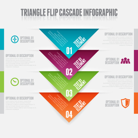 waterfall: Vector illustration of triangle flip cascade infographic design elements.