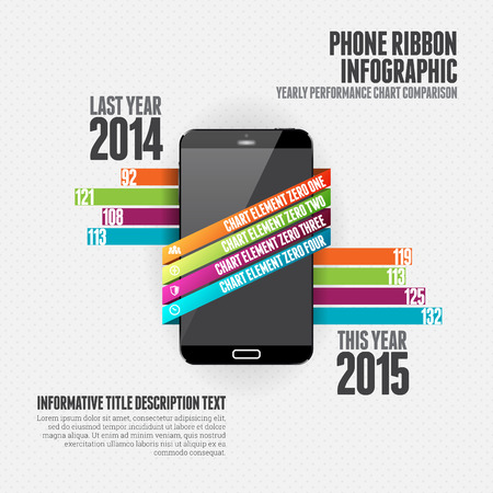 mobile communication: Vector illustration of phone ribbon infographic design element.