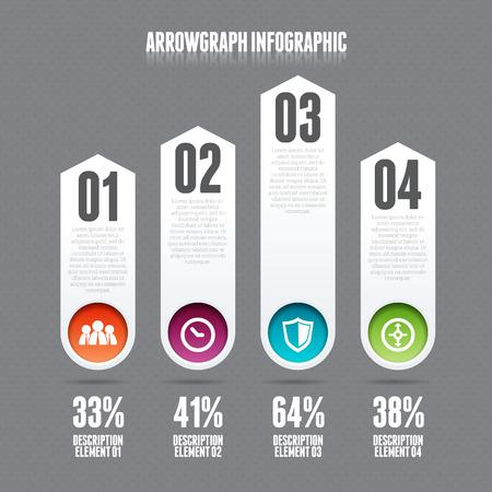 colour chart: Vector illustration of arrow graph infographic design element.