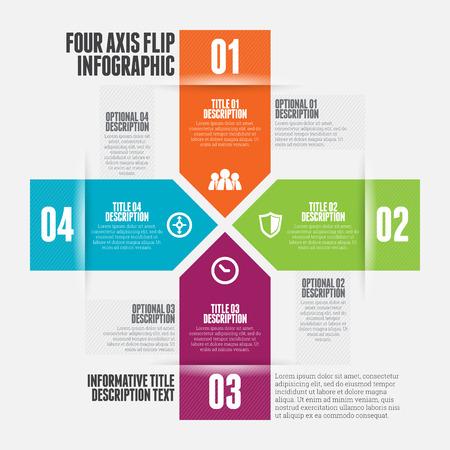 cuatro elementos: Ilustración vectorial de cuatro ejes flip elemento de diseño infográfico.