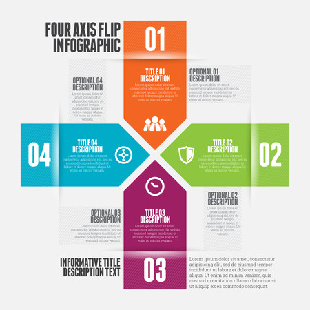 four elements: Vector illustration of four axis flip infographic design element.