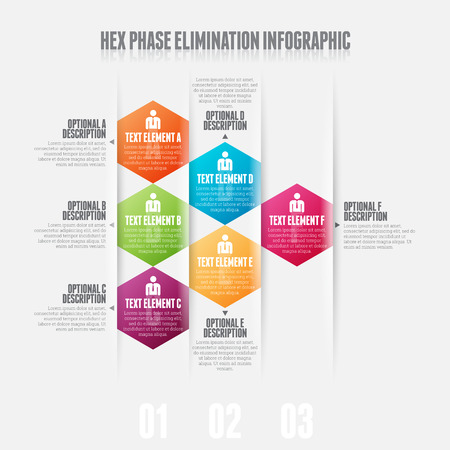 Vector illustration of hex phase elimination infographic design element.