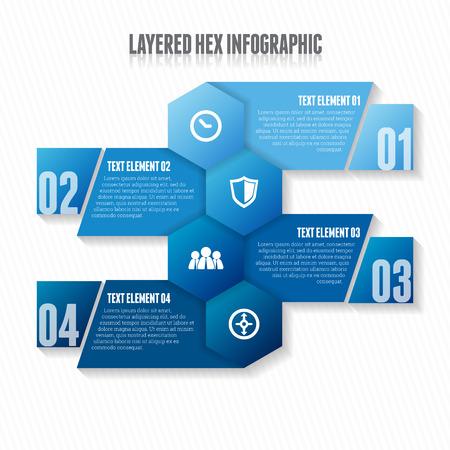 Vector illustratie van gelaagde hex infographic design element.