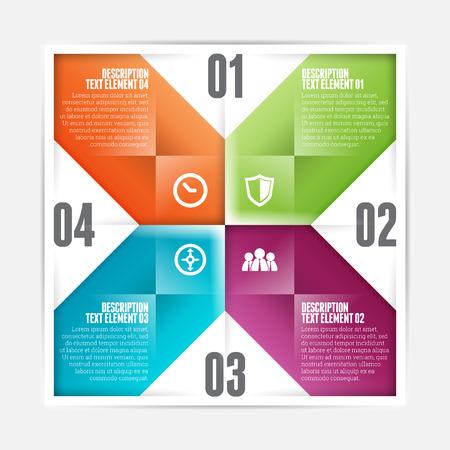 flipped: Vector illustration of square flipped infographic design element. Illustration
