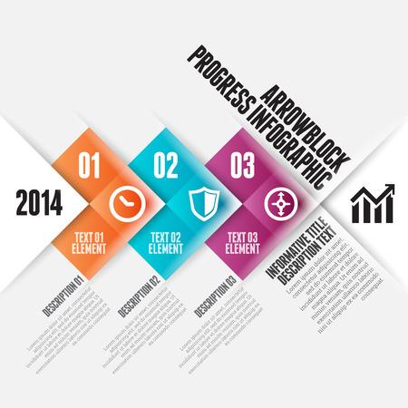 Vector illustratie van de pijl blok vooruitgang infographic design element. Stock Illustratie