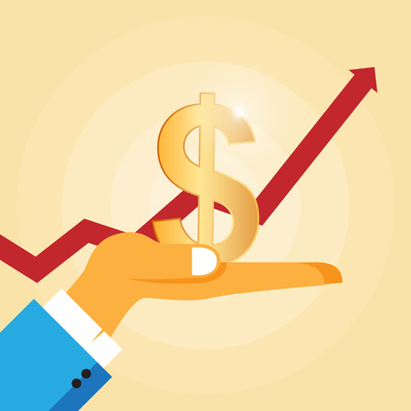 gain: Vector illustration of a hand holding a golden dollar sign with a rising graphic on the background.