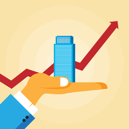 increase diagram: Vector illustration of a hand holding an office tower with a rising graphic line in the background. Illustration