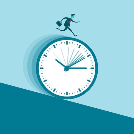 gliding: Vector illustration of a businessman running nonstop on a clock wheel gliding downhill. Illustration