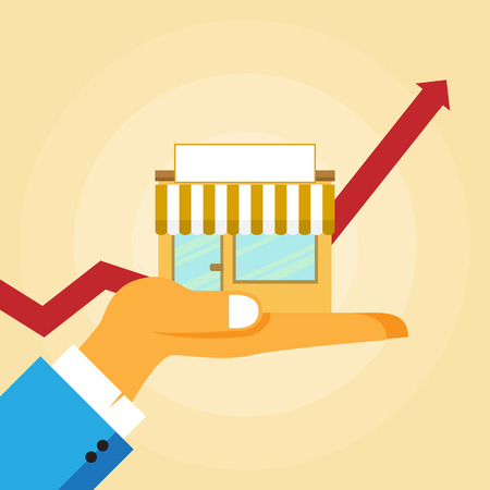 Vector illustration of small business growth concept. Stock Illustratie