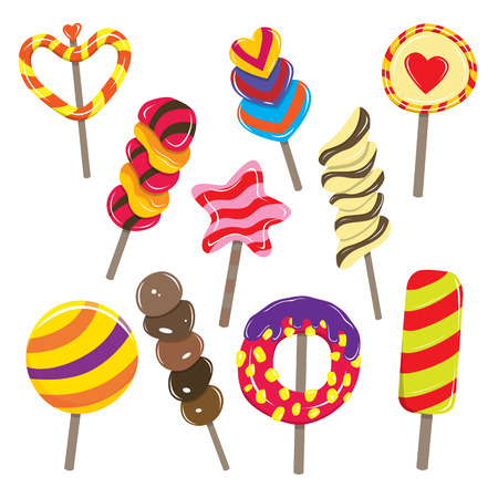 sugar candy: Vector illustration of various colorful candy sticks.