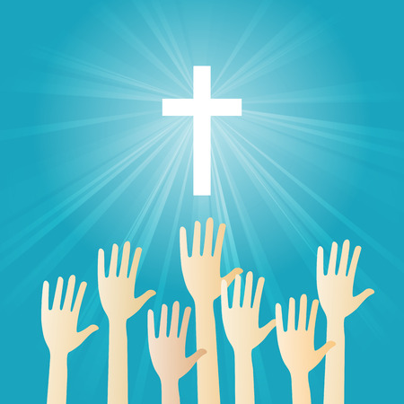 praise and worship: Vector illustration of Christian worship with hands raising. Illustration