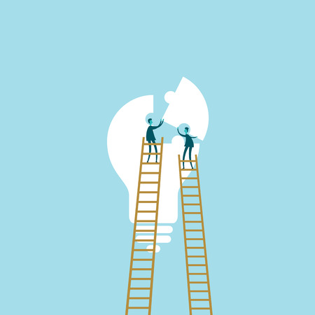 composing: Vector illustration of two people composing a light bulb puzzle.