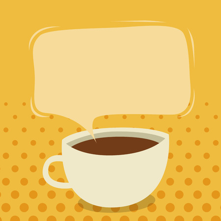 Vector illustration of a cup of coffee with talk bubble.