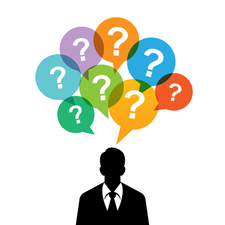 inquiry: Vector illustration of black silhouette of a man with question mark talk bubbles.