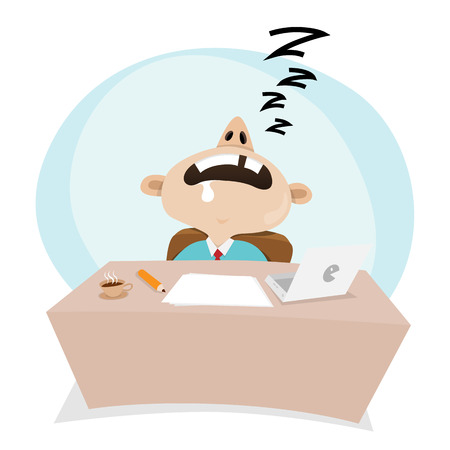 snore: Vector cartoon illustration of a businessman sleeping at work.