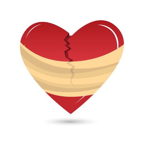 heartache: Vector cartoon illustration of a broken red heart wrapped up in bandages.