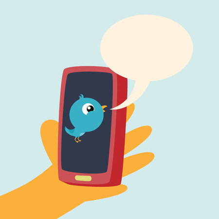 twit: Vector cartoon illustration of hand holding a smartphone with a blue bird tweeting a talk bubble.