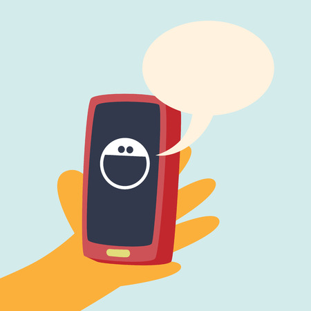 twit: Vector cartoon illustration of hand holding a smartphone with smiley and talk bubble. Illustration