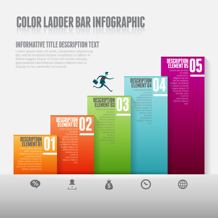 climbing ladder: Vector illustration of color ladder bar infograpic design elements.