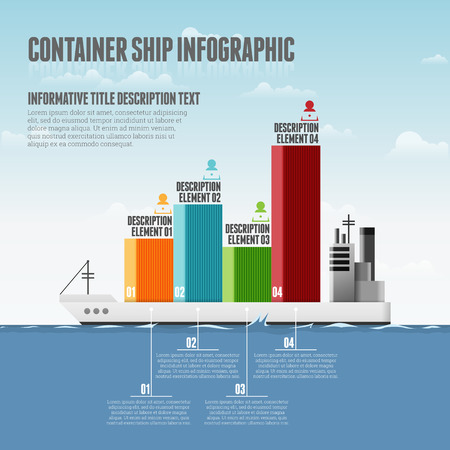 Vector illustration of container ship infographic design elements. 向量圖像