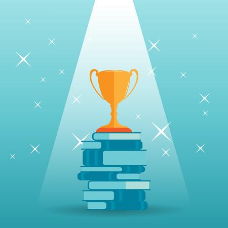 Vector illustratie van een gouden trofee op de top van een stapel boeken.