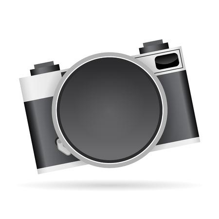 tilting: Vector illustration of camera lens copyspace graphic elements. Illustration