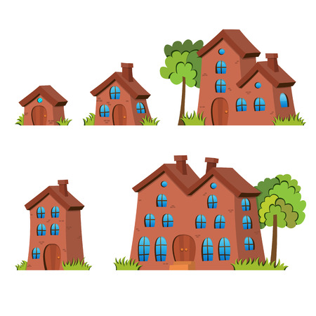 average: Vector illustration of various sizes of cartoon houses.