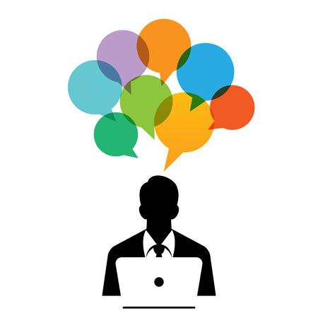 Vector illustration of computing man talk bubbles.