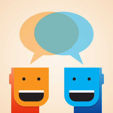open minded: Vector illustration of two open minded guys sharing a blank thought. Illustration